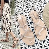 涼鞋 涼鞋女夏平底學生簡約2020夏季新款百搭溫柔仙女風配裙子的晚晚鞋 快速出貨