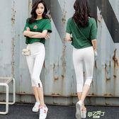 (萬聖節狂歡)新品七分打底褲外穿白色夏季小腳鉛筆褲黑色薄款大尺碼緊身女褲