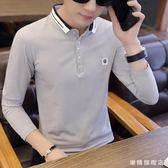 翻領長袖T恤男正韓修身青年POLO衫時尚個性繡花學生秋上衣