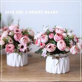 小清新假花陶瓷花瓶仿真花臥室客廳餐桌辦公室盆栽裝飾ins簡約風 【PINK Q】