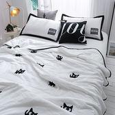韓式可水洗毛巾繡夏涼被(含枕套)-白色小貓【BUNNY LIFE邦妮生活館】
