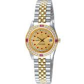 Olympianus 晶鑽紅寶璀璨女錶-半金 68322DSK