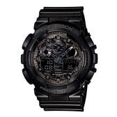 【CASIO】 G-SHOCK 超人氣金屬光澤迷彩紋路雙顯錶-黑(GA-100CF-1A)