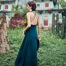 Qmigirl 度假性感露背墨綠色吊帶長裙 連身裙【T1097】