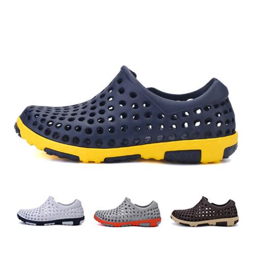 男款 夏季潮流繽紛配色 透氣運動休閒鞋 洞洞鞋 海灘鞋 59鞋廊