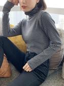 大學T2019秋季新款黑白條紋打底衫女內搭修身顯瘦緊身純棉韓版t恤上衣