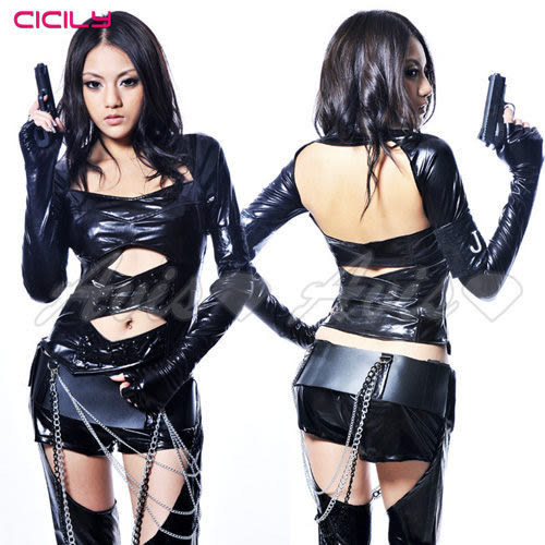 【免運+贈跳蛋+潤滑液】虐戀精品CICILY-特務J女郎-特務裝扮 塗膠仿皮 性感緊身膠衣