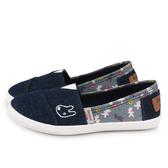 童鞋城堡-麗莎與卡斯伯 親子款 單寧花布休閒鞋GL7612-藍