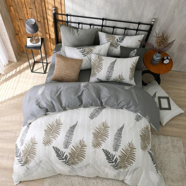 鴻宇 雙人兩用被套床包組 100%精梳純棉 葉夜 台灣製C20105