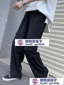 女工裝褲 高腰直筒顯瘦小個子拖地闊腿褲垂感工裝褲女春秋黑色寬鬆【櫻桃菜菜子】