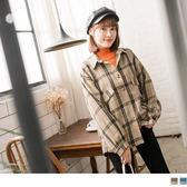 《EA2598》磨毛復古格紋小澎袖襯衫/外套 OrangeBear