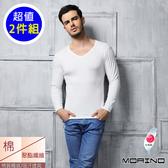 【MORINO摩力諾】時尚保暖長袖棉毛V領衫2件組