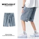 男士牛仔短褲直筒寬鬆韓版潮流夏季破洞薄款中褲潮牌五分褲5分褲 一米陽光