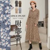 洋裝 Space Picnic|碎花襯衫領長袖洋裝-附綁帶(預購)【C20081028】