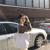 包包新款白色大容量帆布包女文藝單肩正韓簡約百搭手提購物袋