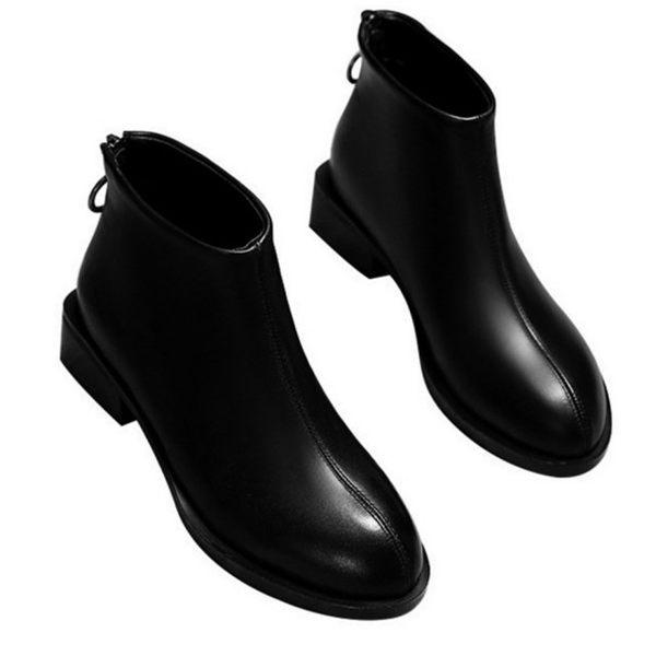 【Ocleather】經典英倫馬丁皮革學院短靴(黑色全尺碼)