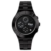 【FILA 斐樂】經典風格三眼鋼帶腕錶-霸氣黑/38-006-003/台灣總代理公司貨享兩年保固
