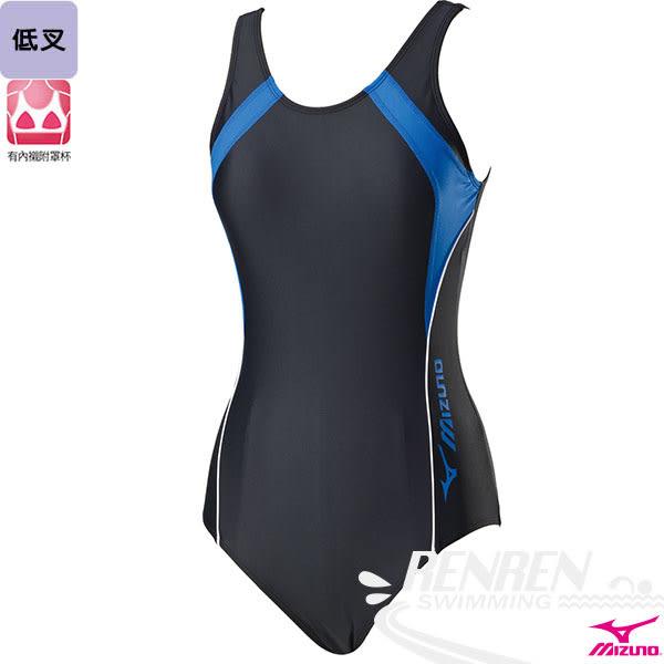 MIZUNO美津濃 女泳衣(黑*藍) FITNESS  低叉 運動泳裝  附罩杯