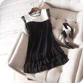 洋裝-無袖俏麗三層百褶裙襬拼色連身裙73sz18[時尚巴黎]