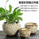 花盆陶瓷家用帶托盤簡約創意綠蘿吊蘭多肉小...