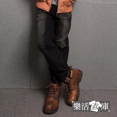 MIT台灣製造型口袋刷紋伸縮中直筒牛仔褲@樂活衣庫【719】
