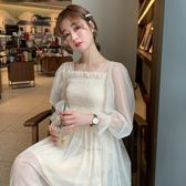 春裝韓版女裝網紗修身中長款長袖洋裝 吊帶打底裙兩件套長裙子