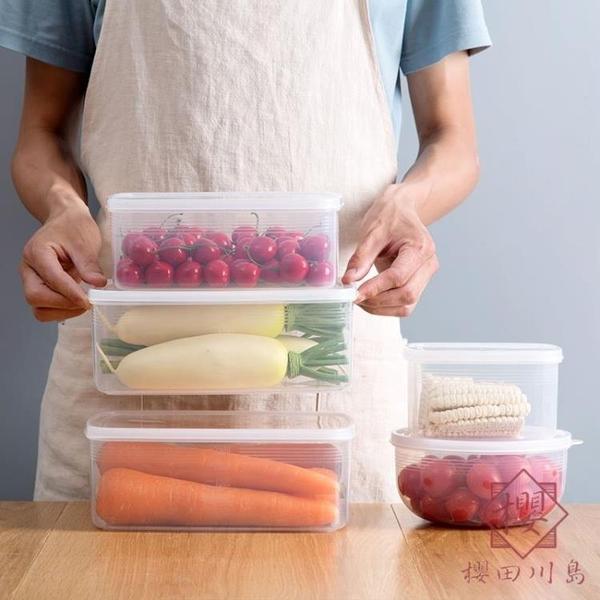 保鮮盒塑料水果密封盒便當盒冰箱收納食物儲物盒【櫻田川島】