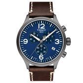 [僾瑪精品] TISSOT天梭 Chrono XL 韻馳系列計時腕錶-咖啡x藍/45mm/T1166173604700
