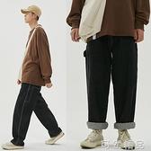 牛仔褲江南先生20夏季 復古寬鬆闊腿滑板褲老爹褲男直筒工裝牛仔褲 聖誕節全館免運