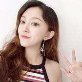 韓國氣質女原創海星三角耳墜 玫瑰紅幾何圓珠女耳環 無耳洞耳骨夾潮流坐標