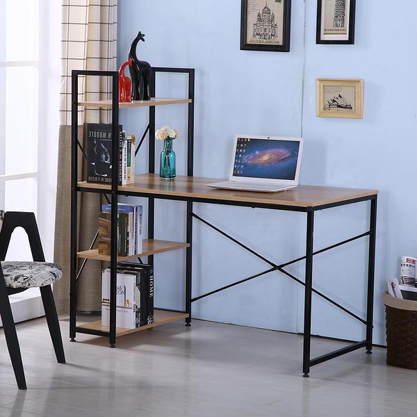 艾美4尺本色黑腳書架型書桌(20JF/826-3)/H&D東稻家居