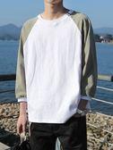 日系圓領T恤夏季新款韓版長袖上衣寬松百搭打底衫男