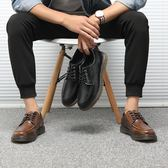 男皮鞋 大碼皮鞋 真皮男士大碼工裝鞋時尚復古擦色牛皮大頭皮鞋韓版厚底男鞋子《印象精品》q621