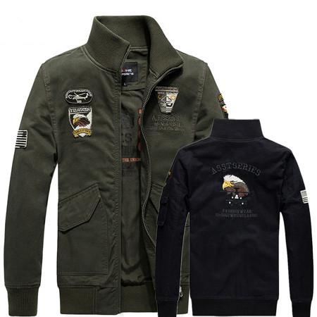 純棉厚磅空軍一號老鷹刺繡夾克 大碼軍裝外套 2色 M-4XL碼【CW434210】