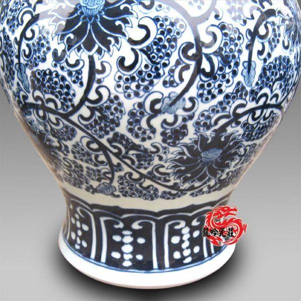 手繪青花瓷明清 大號花菇瓶高53cm