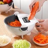 多功能切菜器家用廚房神器手動帶瀝水籃切土豆切片擦絲蘿卜刨絲器 酷男精品館