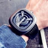 新概念黑科技時尚潮流手錶男學生個性方形大錶盤帶休閒石英錶 雙十二全館免運