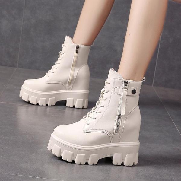 內增高馬丁靴女2021秋冬新款百搭小個子厚底帥氣英倫風顯瘦小短靴 伊蘿