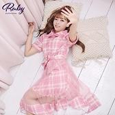洋裝 露比設計‧格紋網紗拼接短袖洋裝-Ruby s 露比午茶