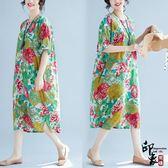 漢服唐裝民族風復古大花朵長裙印花連身裙大尺碼寬鬆顯瘦【館長推薦】