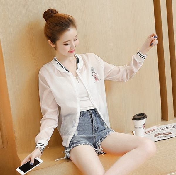 夏季女裝百搭顯瘦條紋短款薄外套夾克棒球服空調開衫印花防曬衣潮