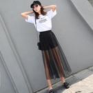網紗裙 夏季網紗半身裙超薄透視女紗裙高腰單層黑色打底外搭透明長裙-Ballet朵朵