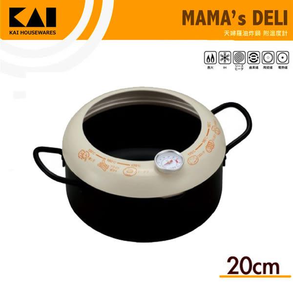 KAI貝印  雙柄油炸鍋 20cm 附油溫溫度計 日本製造