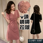 EASON SHOP(GQ0128)韓版純色胸口拉皺蝴蝶結綁繩露鎖骨小V領短袖連身裙洋裝女短裙膝上裙A字裙閨蜜裝