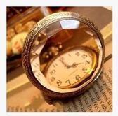 懷錶百搭韓國石英錶玻璃復古茶色翻蓋懷錶宮廷大號電子錶學生女簡約