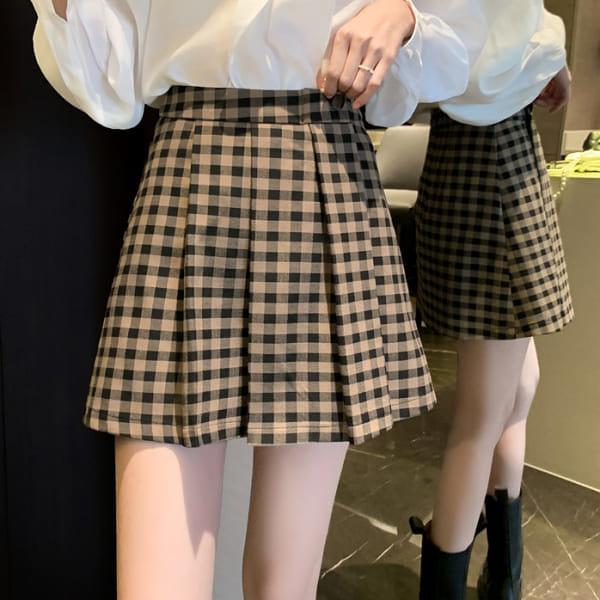 裙子.韓風時尚格紋高腰百摺短裙.白鳥麗子