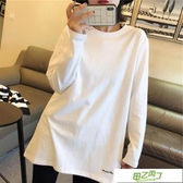 長袖T恤 早秋新品白色t恤女長袖寬鬆中長款百搭棉質刺繡打底衫上衣【快速出貨】