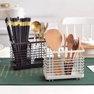 廚房筷子收納瀝水筷子籠家用壁掛式筷子筒置物架勺子收納盒筷子架 一米陽光