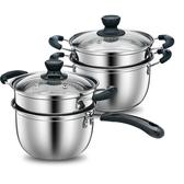不銹鋼奶鍋寶寶湯鍋加厚小蒸鍋復底不粘牛奶小鍋面條鍋電磁爐鍋具