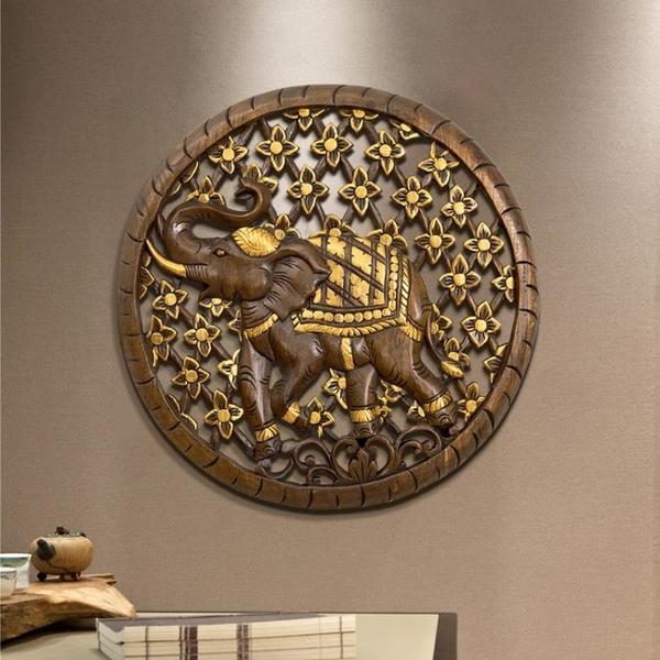 異麗泰國木雕裝飾畫實木雕刻壁掛大象壁飾酒店餐廳玄